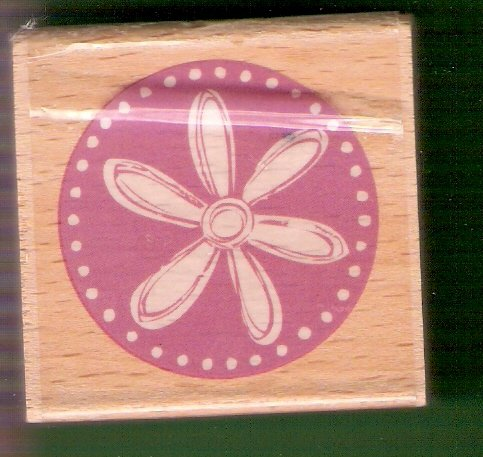 Flower in a circle mounted rubber stamp