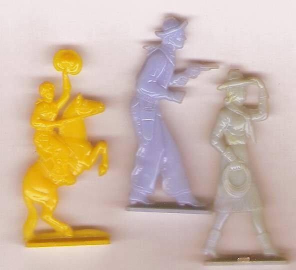 3 1050s vintage plastic western cowboy cowgirl theme toys for crafting