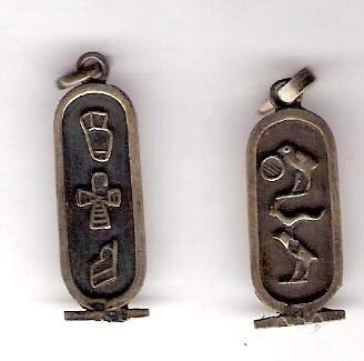 2 Egyptian hieroglyph charm pendant metal estate sale silver?