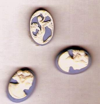 3 tiny wedgwood blue plastic cameos for crafting