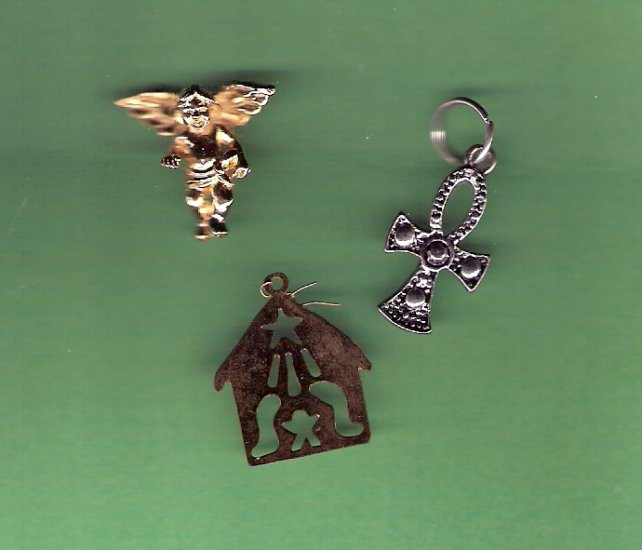 3 Religious theme charms cross angel nativity in metals