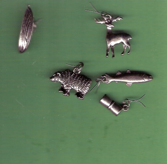Outdoor theme charms for jewelry crafts set of 5 deer bear fish canoe sleeping bag