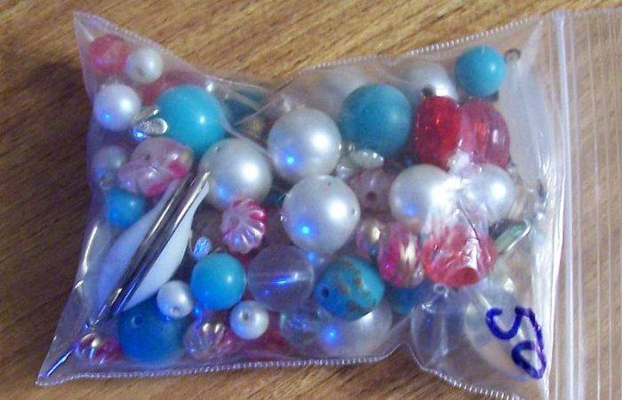 Vintage beads grab bag pearls gemstones metal plastic more