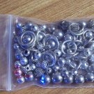 Grab bag of silver metal beads spacers rings for crafting