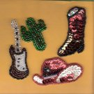 4 vintage bead and sequind Cowboy western theme appliques NM