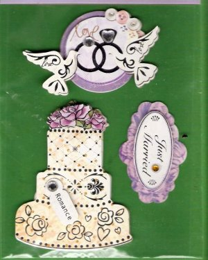 3 dimensional Wedding Theme stickers cake rings doves MIP