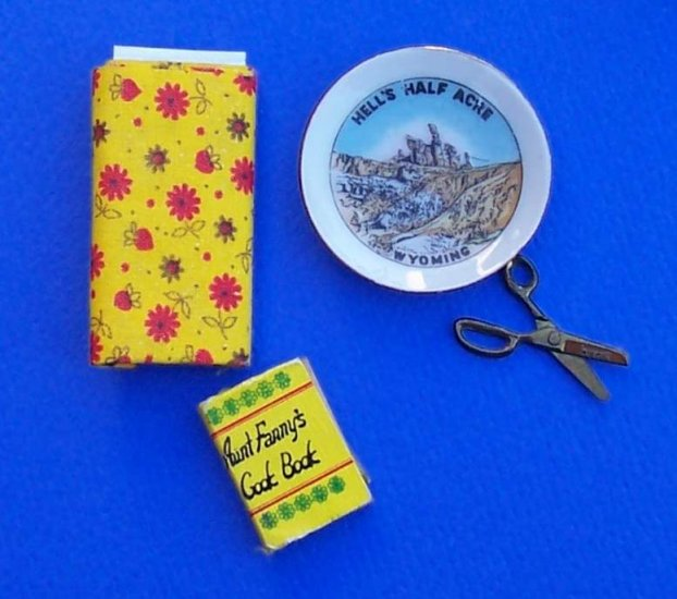 Lot of miniatures for crafting and dollhouse fabric cookbook scissors plate