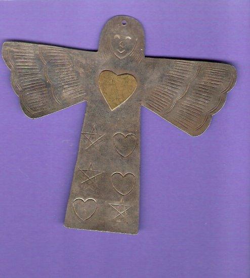 Large silver metal angel embellishment primitive style vintage finding