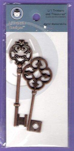 Antique look brass keys fancy design embellishments Lil Davis Designs MOC