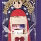 Jolees patriotic rag doll embellishment red white blue wood and fiber MIP