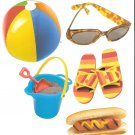 Beach diecuts sandpail beachball sunglasses  hotdog flipflops