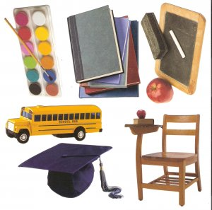 School theme diecuts books desk bus blackboard paints mortarboard