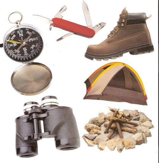 Outdoors theme diecuts compass binoculars tent campfire boot pocketknife