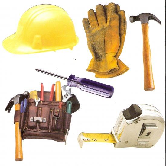 Carpenter theme diecuts toolbelt tape measure hardhat  hammer