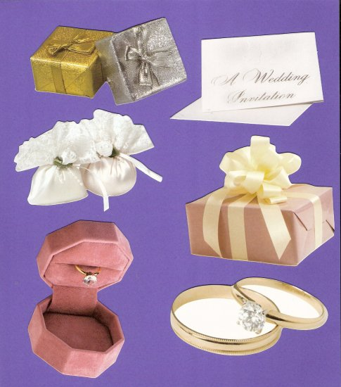 Wedding theme diecuts invitation ring rice bags gifts rings