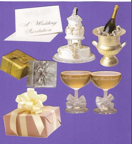 Wedding theme diecuts cake champagne gifts invitation