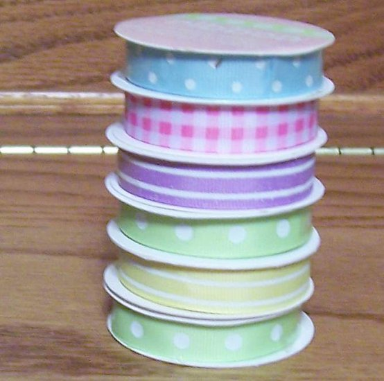 3 yards spring colors grosgrain ribbon on spools green pink blue yellow  lavender crafts width