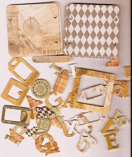 46 Vintage theme chip board diecuts frames corners tags alphabet