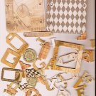 46 Vintage theme chip board diecuts frames corners tags alphabet