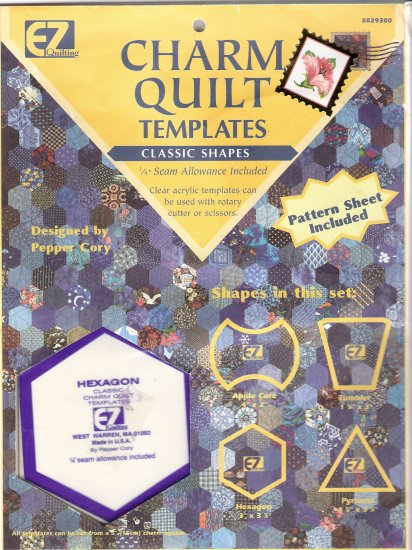 Charm quilt  acrylic templates apple core tumbler hexagon pyramid