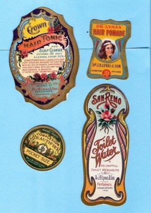 1905 Vintage fancy cosmetic labels Dr Lynas Perfumerie unused lot 2