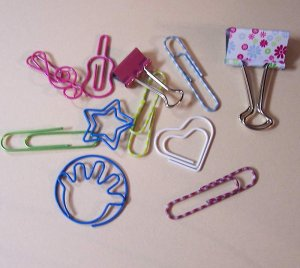 Metal Novelty clips and fasteners green pink and blue