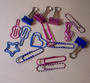 Metal Novelty clips and fasteners pink and blue