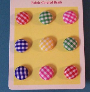 Gingham fabric covered brads for scrapbooks, cards, etc MIP