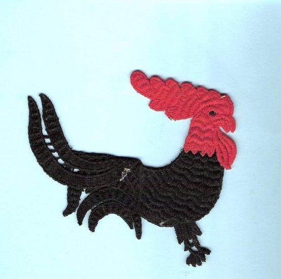 Large vintage rooster applique