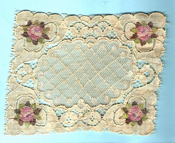 Antique lace panel for applique or dollhouse blanket or tablecloth