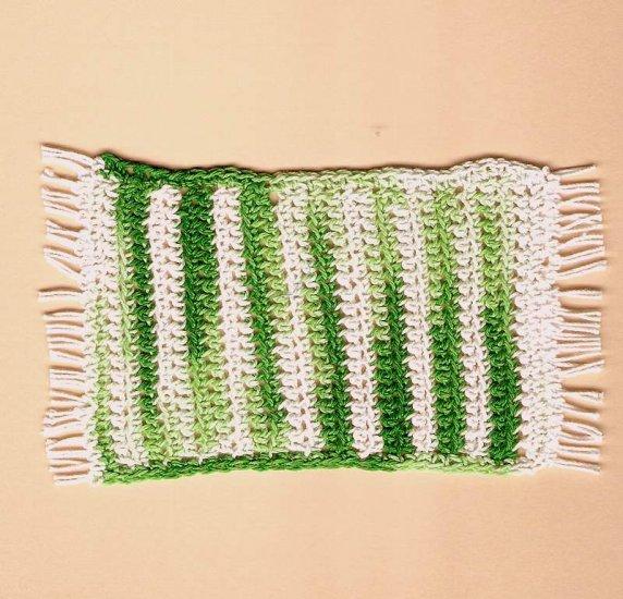 Handmade braided green white rug dollhouse miniature