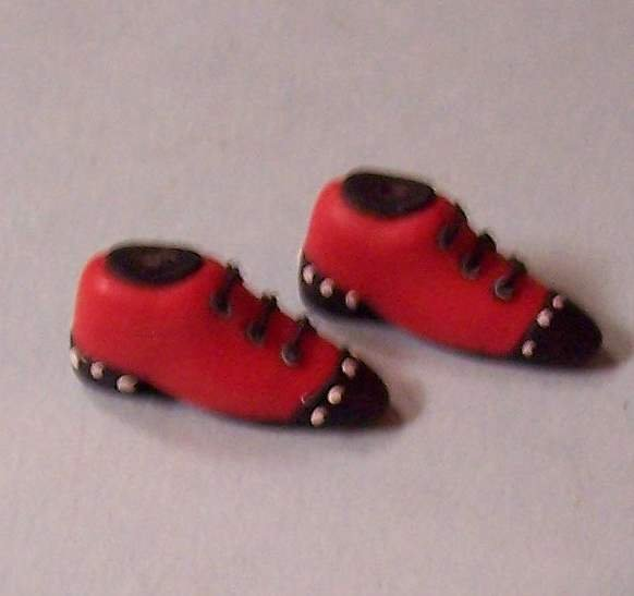 Dollhouse miniatures high top shoes in red