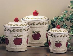 """Apple Canister Set of Three """"Country"""