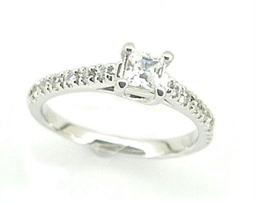 .5 tcw Princess Cut CZ Engagement Pinky Ring Size 4