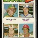 1977 Topps baseball card #475 Rookies Chris batton Rick Camp Scott McGregor Manny Sarimento VG
