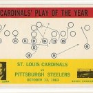 1964 Philadelphia (Philly) football card #182 St. Louis Cardinals vs Pittsburgh Steelers
