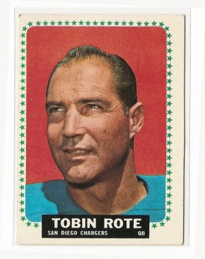 1964 Topps football card #171 Tobin Rote VG/Ex San Diego Charges
