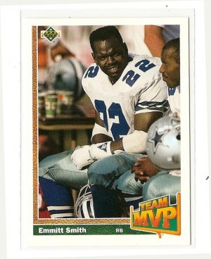 1991 Upper Deck Football Card 456 Emmitt Smith Nmm Team Mvp