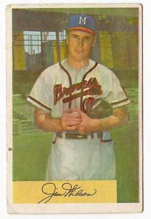 1954 Bowman baseball card #16 Jim Wilson G/VG