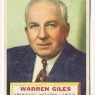 1956 Topps baseball card #2 Warren Giles VG President - National league