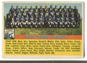 1956 Topps football card #113 (B) New York Giants team - good (ink marks)