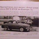 Magazine print ad - 1959 Renault automobiles (40 mpg!)