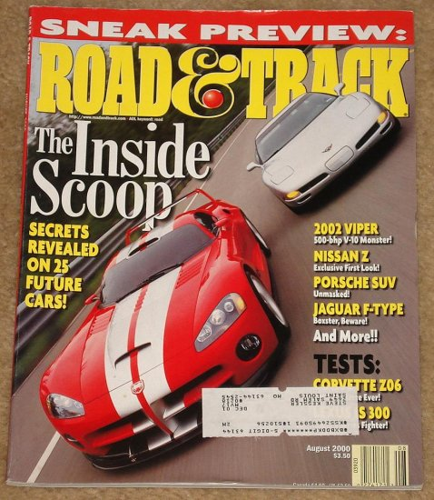Road & Track Magazine August 2000 Dodge Viper, Nissan 350Z