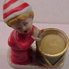 "Christmas Caroler figure candle holder w/ candle, 4.5"" tall, ceramic/porcelain, perfect condition"