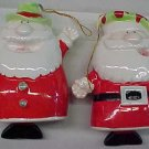"Santa Claus Bells Christmas tree Ornament (or free standing figures), ceramic/porcelain, 4"" tall"