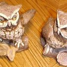 "Two ceramic/porcelain OWL figurines, perfect condition, 5"" tall"