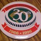 """St. Louis Busch Stadium 30th Anniversary metal pin button, 1996, 3"""" , NM"""