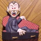 Dracula vampire ceramic figure w/ red light up eyes - nightlight? Handpainted