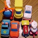 Assortment of Fisher Price cars and vehicles, used but nice, helicopter, tow truck, more!