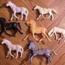 Assortment of toy horses figures - 7 different - various brands & years